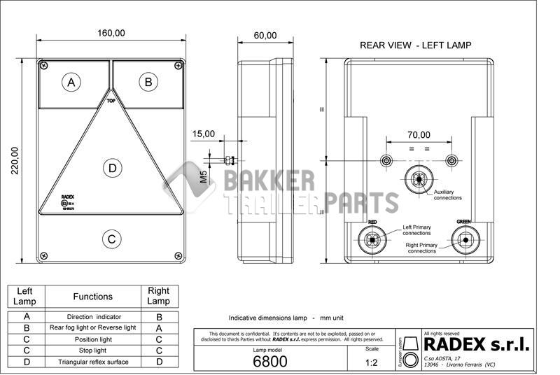 Rear lamp 160x220mm.(L) 4f.12V.Radex 6800/10